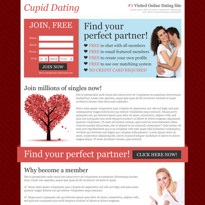 find your perfect partner clean and converting landing page design to boost your traffic Dating example