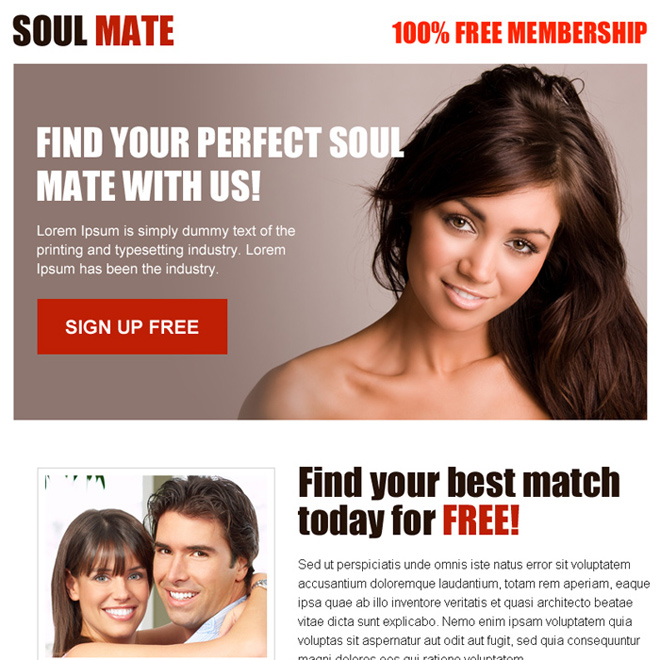 perfect soul mate free membership sign up ppv landing page design Dating example