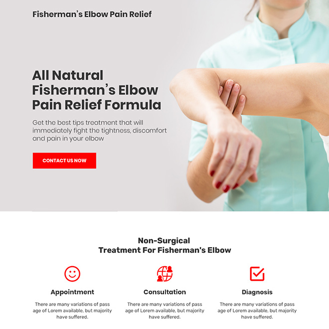 fisherman elbow pain relief minimal bootstrap landing page design Pain Relief example
