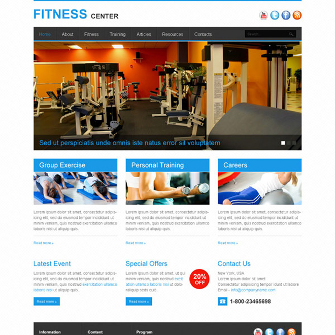 informative and converting fitness center website template design psd Website Template PSD example