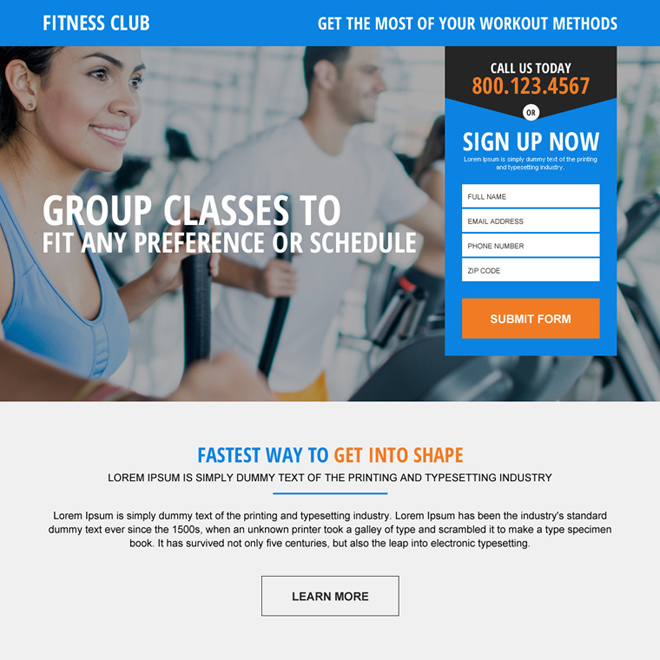 fitness club membership generating html landing page design Health and Fitness example