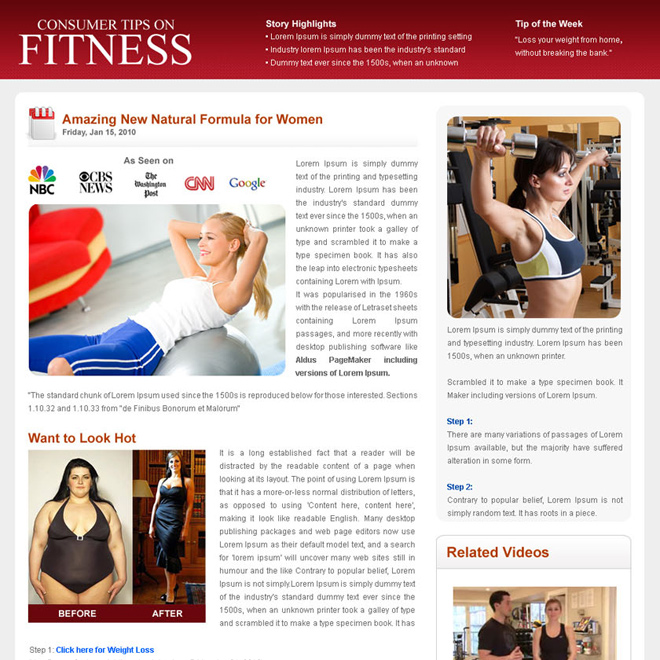 consumer tips on fitness flog design template Flogs example