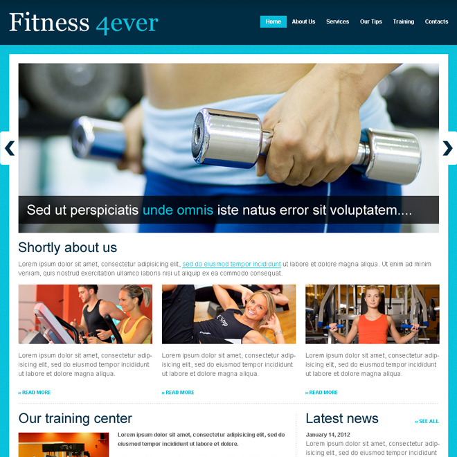 fitness for ever website template design psd Website Template PSD example