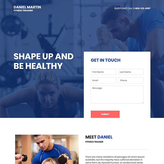 fitness trainer lead capture responsive landing page design Health and Fitness example