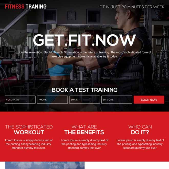 fitness training programs for beginners landing page design Health and Fitness example