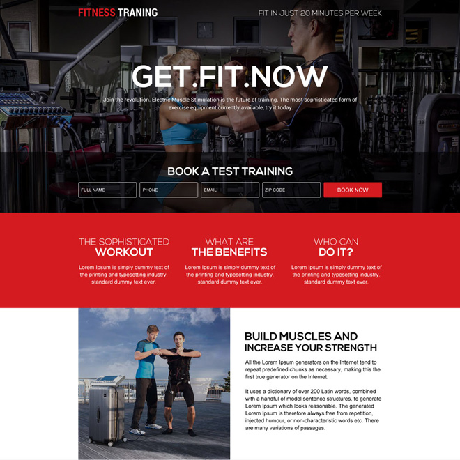 responsive fitness training programs landing page design Health and Fitness example