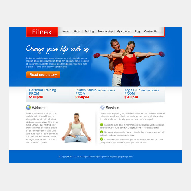 attractive and converting fitness training website template design psd Website Template PSD example