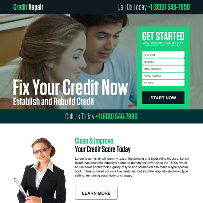 fix your credit now lead generating landing page design Credit Repair example