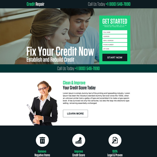 responsive credit repair company landing page Credit Repair example