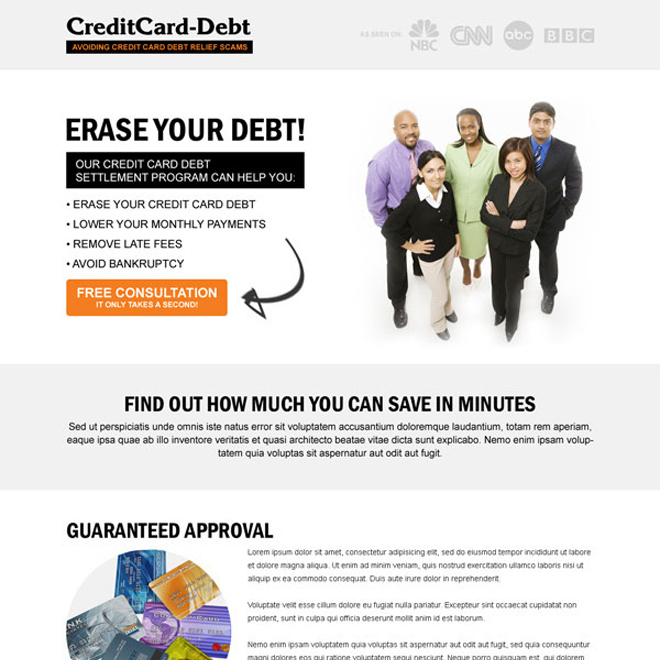 erase your credit card debt clean and minimal looking call to action landing page design Debt example