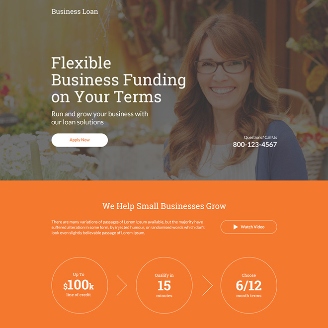 flexible business funding responsive landing page Business Loan example