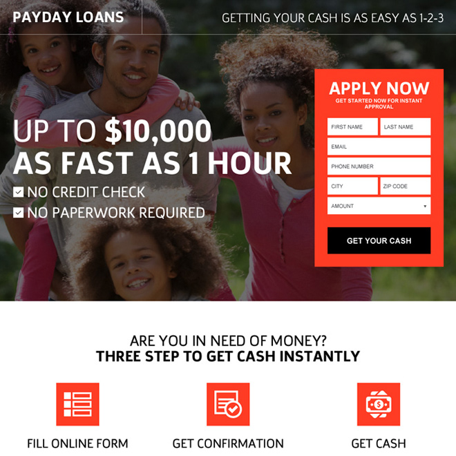 flexible payday loan no credit check landing page design Payday Loan example