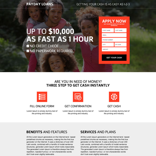 flexible payday loan online application responsive landing page design Payday Loan example