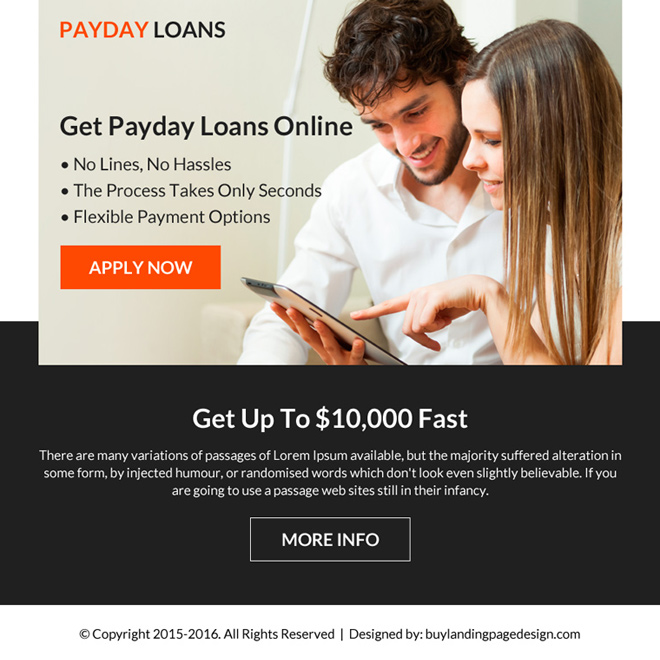 flexible payment option payday loan ppv landing page Payday Loan example