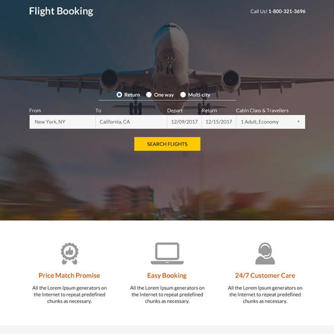 flight ticket booking mini landing page design Travel example