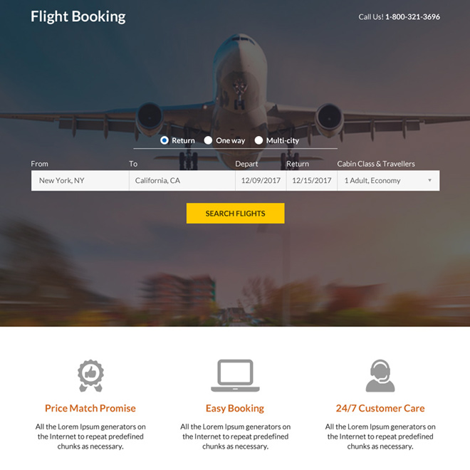 flight ticketing booking mini responsive landing page design Travel example