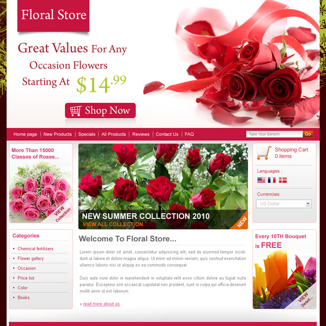 online flower store website template design psd for sale Website Template PSD example