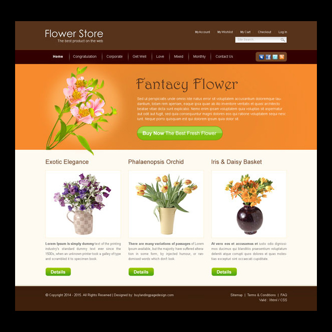 flower store attractive and beautiful website template design psd to create your online store Website Template PSD example