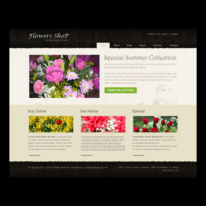 simple and creative flowers shop website template design psd to create your online flowers shop Website Template PSD example