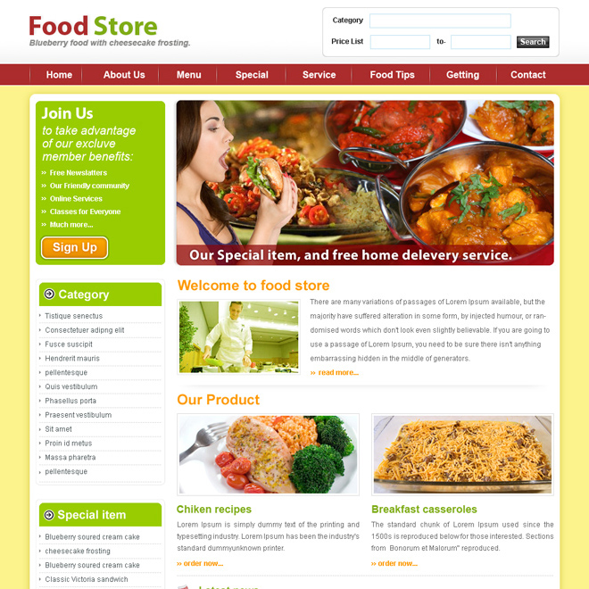 food store website template design psd for sale Website Template PSD example
