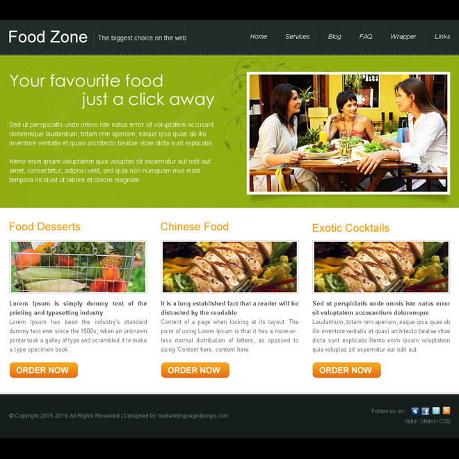 minimal food zone website template design psd for sale Website Template PSD example