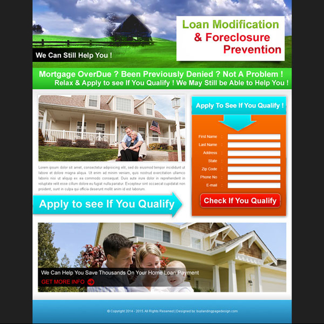 loan modification and foreclosure prevention landing page design for sale Landing Page Design example