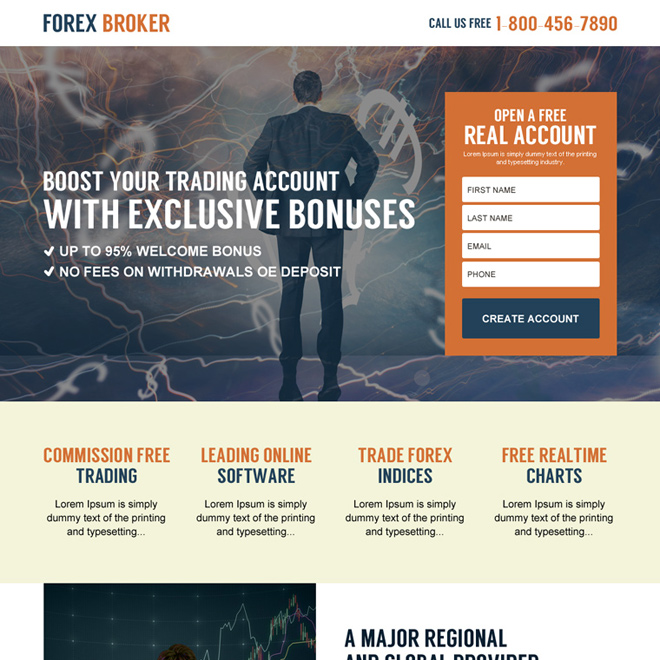 forex trading best lead capturing responsive landing page design Forex Trading example