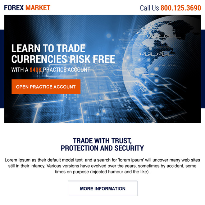 forex trading sign up capturing ppv landing page design Forex Trading example