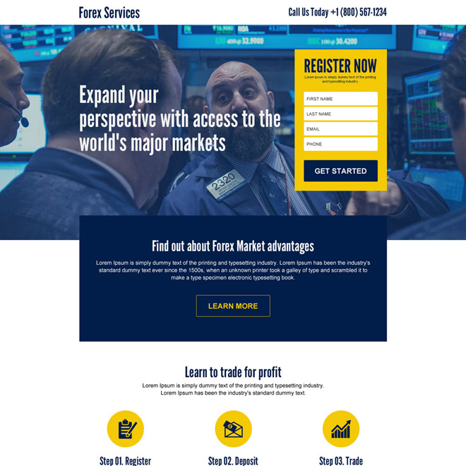 forex market access sign up capturing responsive landing page Forex Trading example