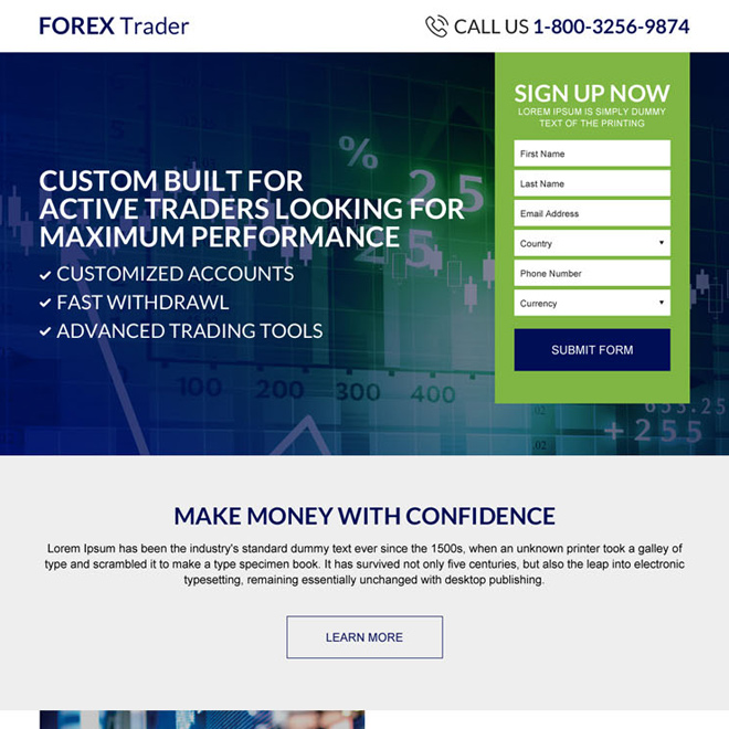 forex trading sign up lead capturing best landing page Forex Trading example