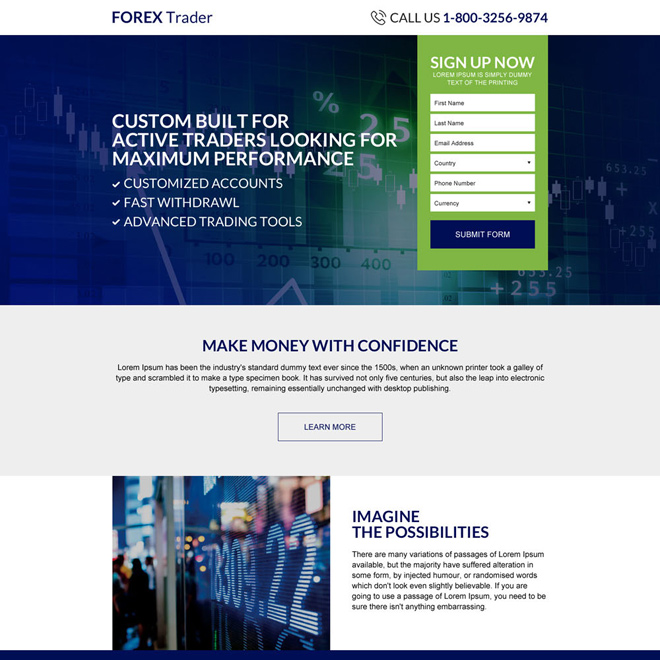 forex trading sign up capturing responsive landing page design Forex Trading example