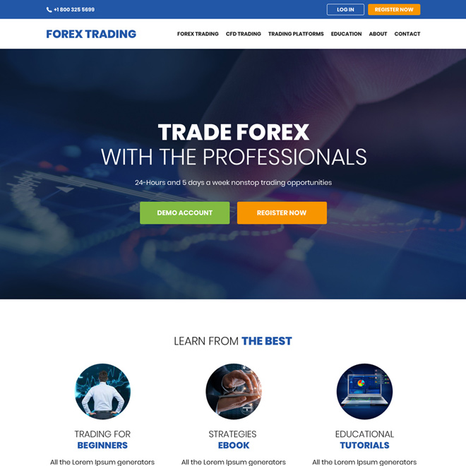 professional forex trading sign up capturing website design Forex Trading example