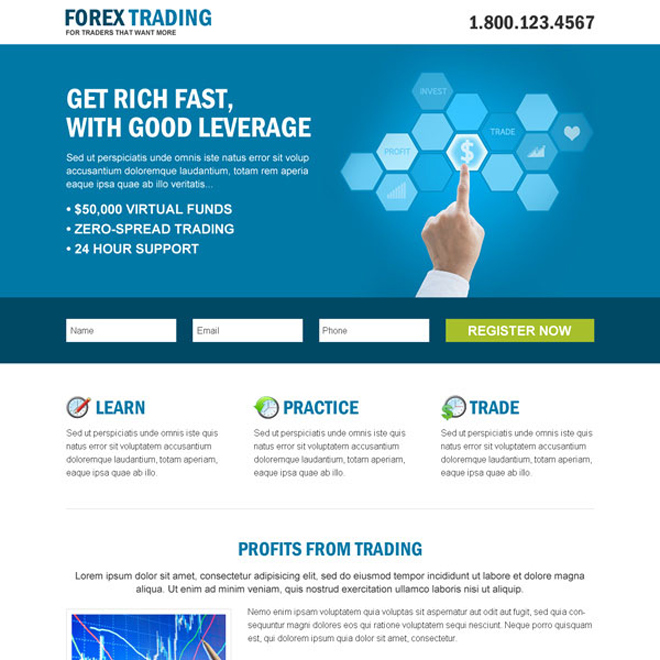 forex trading business professional and clean landing page design template Forex Trading example