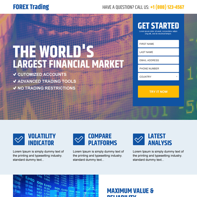 best forex trading financial market lead capture landing page design Forex Trading example