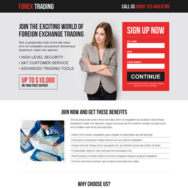 converting responsive landing page design templates for Forex trading to capture leads Forex Trading example
