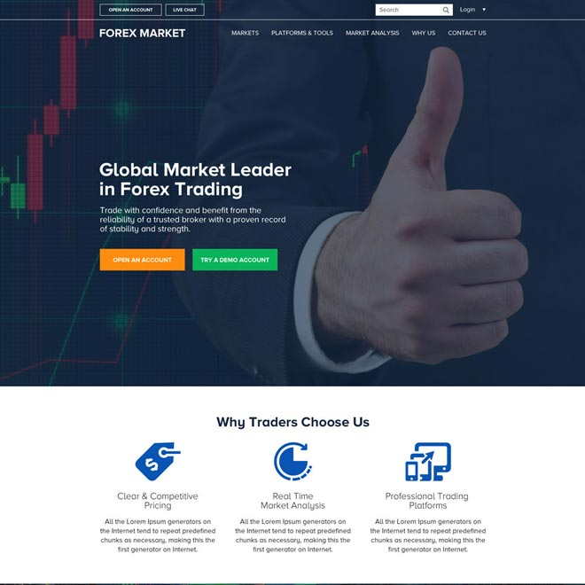 responsive global leader in forex trading html website design Forex Trading example
