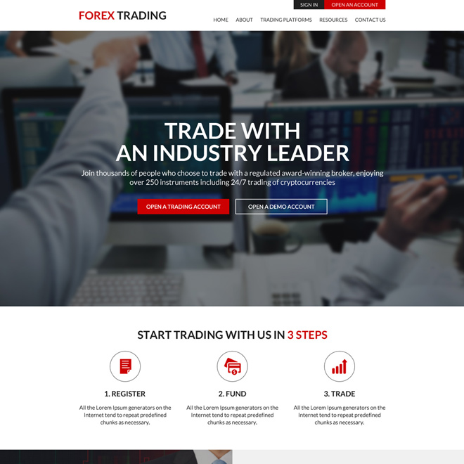forex trading platforms clean website design Forex Trading example