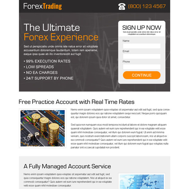 forex trading sign up small lead capture form landing page design template Forex Trading example