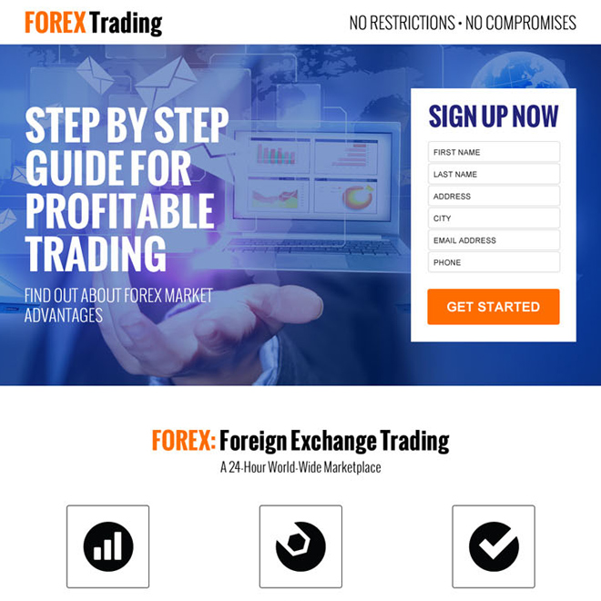 forex trading sign up lead generating responsive landing page design Forex Trading example