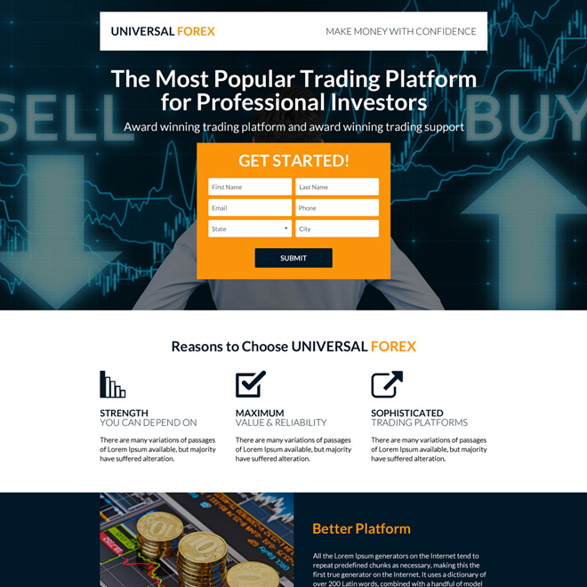 responsive forex trading strategies landing page design Forex Trading example