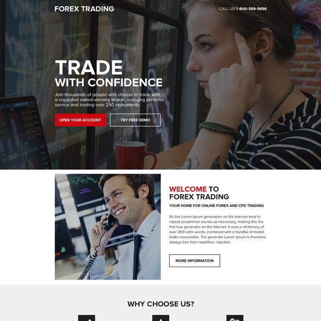 clean and professional forex trading strong cta landing page Forex Trading example