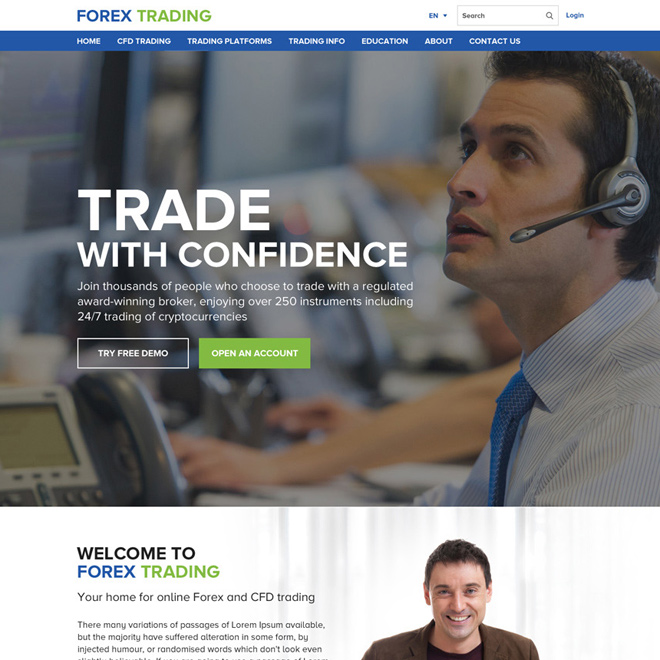 responsive forex trading professional click through website design Forex Trading example