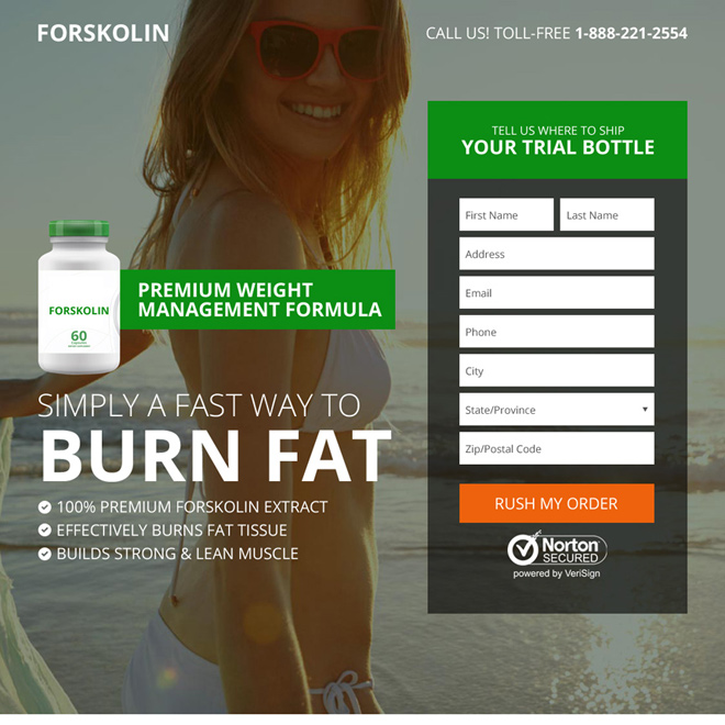 forskolin weight loss product selling responsive landing page Weight Loss example
