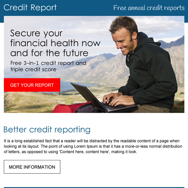 professional free annual credit report ppv landing page design Credit Report example