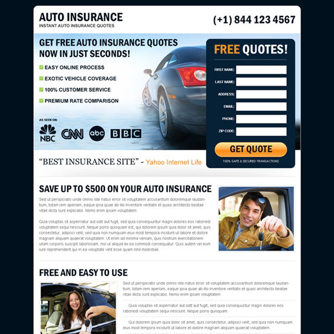 free auto insurance quotes in seconds appealing and converting landing page design Auto Insurance example