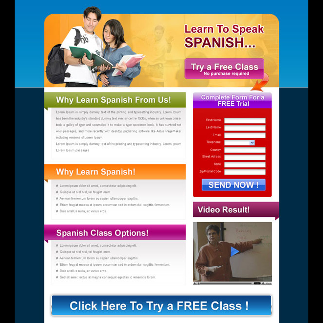 try a free class education converting landing page design for sale Landing Page Design example