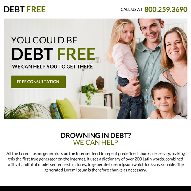 clean debt consultation ppv landing page design Debt example
