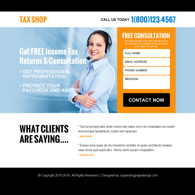 free tax consultation for tax return ppv landing page design Tax example