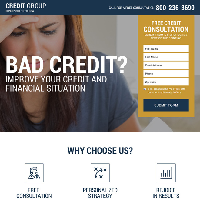 free credit repair consultation responsive lead gen landing page Credit Repair example