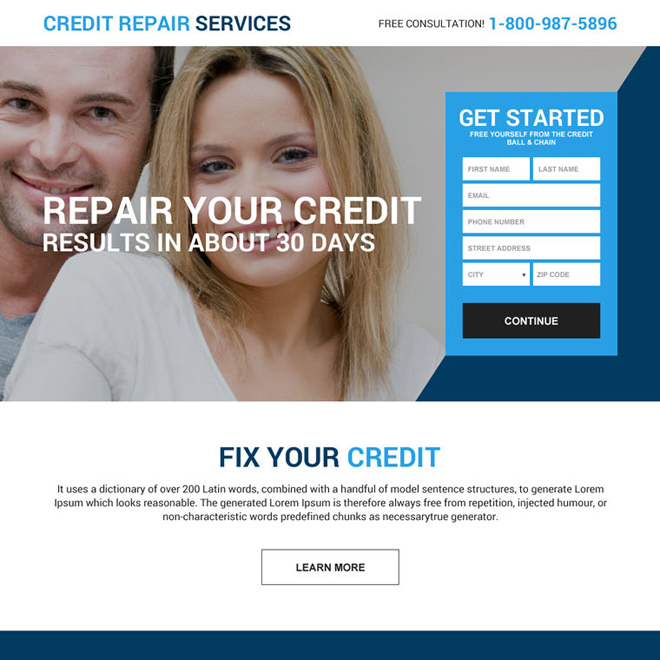 free credit repair consultation lead gen landing page Credit Repair example